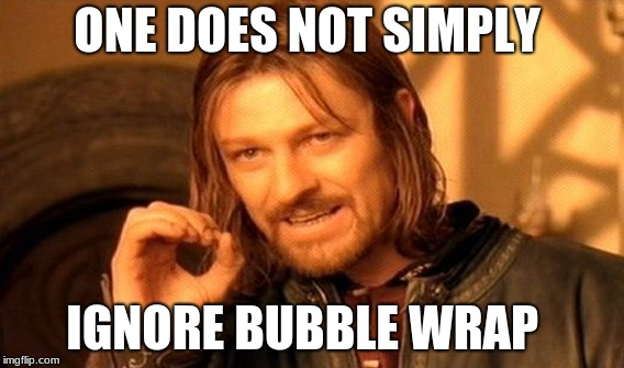 One Does Not Simply Meme | ONE DOES NOT SIMPLY IGNORE BUBBLE WRAP | image tagged in memes,one does not simply | made w/ Imgflip meme maker