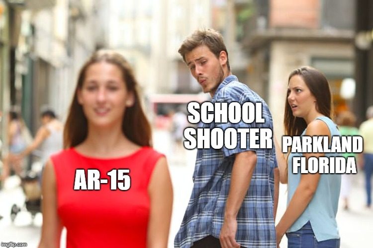 Distracted Boyfriend Meme | AR-15 SCHOOL SHOOTER PARKLAND FLORIDA | image tagged in memes,distracted boyfriend | made w/ Imgflip meme maker