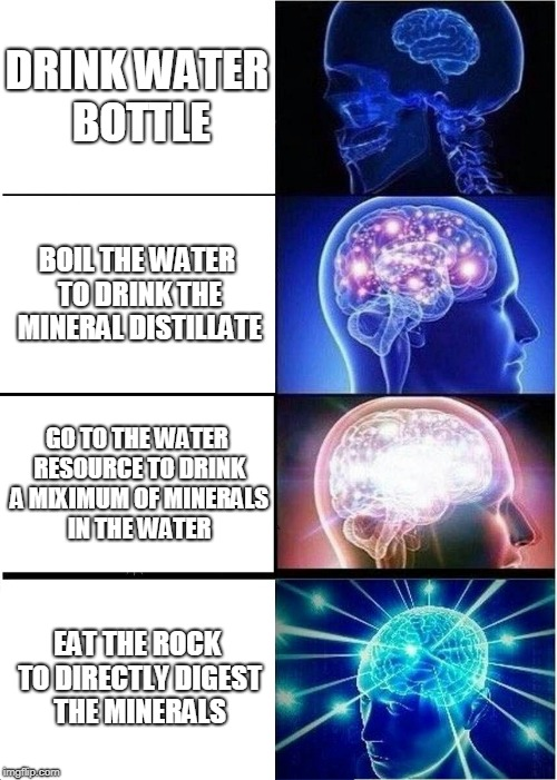 The best way to drink your water | DRINK WATER BOTTLE BOIL THE WATER TO DRINK THE MINERAL DISTILLATE GO TO THE WATER RESOURCE TO DRINK A MIXIMUM OF MINERALS IN THE WATER EAT T | image tagged in memes,expanding brain,water | made w/ Imgflip meme maker