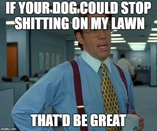 Shitty Neighbours | IF YOUR DOG COULD STOP SHITTING ON MY LAWN THAT'D BE GREAT | image tagged in memes,that would be great | made w/ Imgflip meme maker