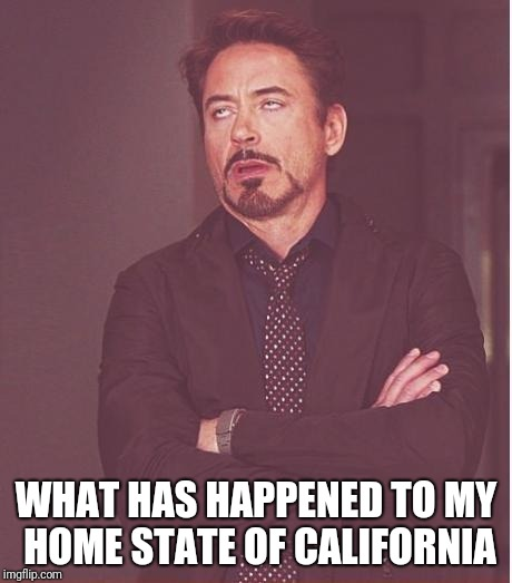 Face You Make Robert Downey Jr Meme | WHAT HAS HAPPENED TO MY HOME STATE OF CALIFORNIA | image tagged in memes,face you make robert downey jr | made w/ Imgflip meme maker
