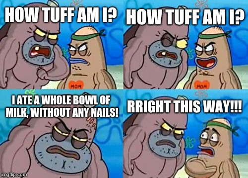 How Tough Are You Meme | HOW TUFF AM I? HOW TUFF AM I? I ATE A WHOLE BOWL OF MILK, WITHOUT ANY NAILS! RRIGHT THIS WAY!!! | image tagged in memes,how tough are you | made w/ Imgflip meme maker