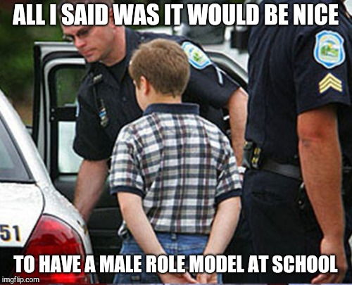 ALL I SAID WAS IT WOULD BE NICE TO HAVE A MALE ROLE MODEL AT SCHOOL | made w/ Imgflip meme maker