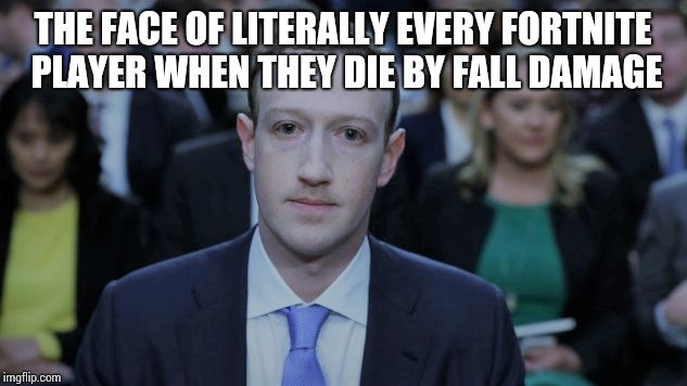 THE FACE OF LITERALLY EVERY FORTNITE PLAYER WHEN THEY DIE BY FALL DAMAGE | image tagged in mark zuckerberg testifies | made w/ Imgflip meme maker