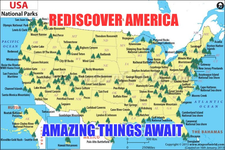 Rediscover America | REDISCOVER AMERICA AMAZING THINGS AWAIT | image tagged in america,discovery,united states of america,god bless america | made w/ Imgflip meme maker