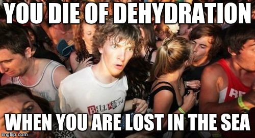 Sudden Clarity Clarence Meme | YOU DIE OF DEHYDRATION WHEN YOU ARE LOST IN THE SEA | image tagged in memes,sudden clarity clarence | made w/ Imgflip meme maker