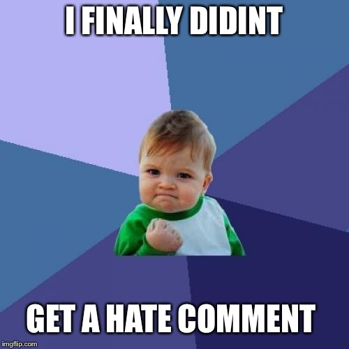Success Kid Meme | I FINALLY DIDINT GET A HATE COMMENT | image tagged in memes,success kid | made w/ Imgflip meme maker