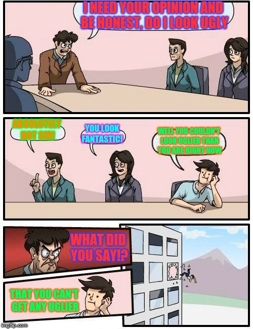 Boardroom Meeting Suggestion Meme | I NEED YOUR OPINION AND BE HONEST, DO I LOOK UGLY ABSOLUTELY NOT SIR! YOU LOOK FANTASTIC! WELL YOU COULDN'T LOOK UGLIER THAN YOU ARE RIGHT N | image tagged in memes,boardroom meeting suggestion | made w/ Imgflip meme maker