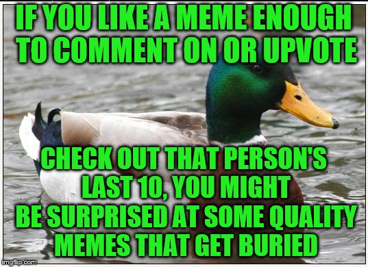 Click on the name just below to see the thumbs of the last 10, or more.  | IF YOU LIKE A MEME ENOUGH TO COMMENT ON OR UPVOTE CHECK OUT THAT PERSON'S LAST 10, YOU MIGHT BE SURPRISED AT SOME QUALITY MEMES THAT GET BUR | image tagged in memes,actual advice mallard,quality memes | made w/ Imgflip meme maker