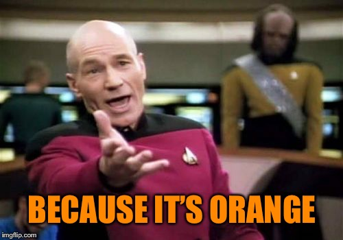 Picard Wtf Meme | BECAUSE IT'S ORANGE | image tagged in memes,picard wtf | made w/ Imgflip meme maker