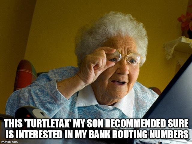 Grandma should have invested in a new hearing aid battery | THIS 'TURTLETAX' MY SON RECOMMENDED SURE IS INTERESTED IN MY BANK ROUTING NUMBERS | image tagged in memes,grandma finds the internet,taxes,fraud | made w/ Imgflip meme maker