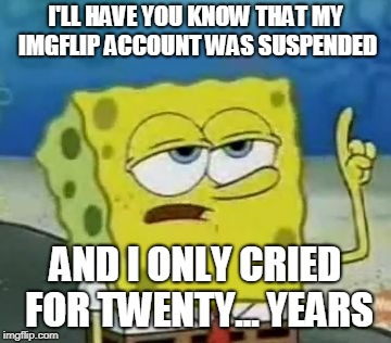 IMGFlip Suspension Be Like |  I'LL HAVE YOU KNOW THAT MY IMGFLIP ACCOUNT WAS SUSPENDED; AND I ONLY CRIED FOR TWENTY... YEARS | image tagged in memes,ill have you know spongebob,imgflip,suspension,tears,rip | made w/ Imgflip meme maker
