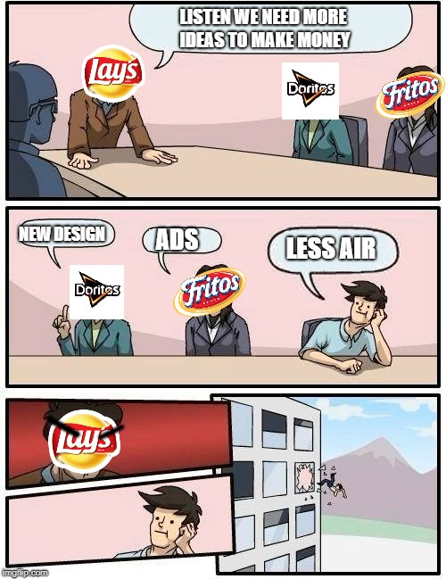 Snacks (Corny jokes) | LISTEN WE NEED MORE IDEAS TO MAKE MONEY NEW DESIGN ADS LESS AIR ------ ------- | image tagged in memes,boardroom meeting suggestion | made w/ Imgflip meme maker