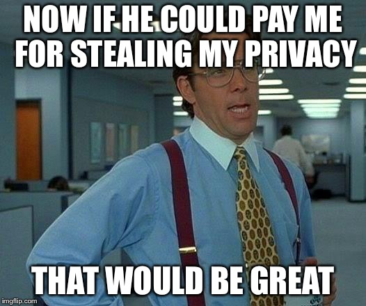 That Would Be Great Meme | NOW IF HE COULD PAY ME FOR STEALING MY PRIVACY THAT WOULD BE GREAT | image tagged in memes,that would be great | made w/ Imgflip meme maker