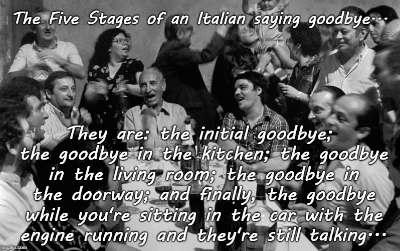The Five Stages... | The Five Stages of an Italian saying goodbye... They are: the initial goodbye; the goodbye in the kitchen; the goodbye in the living room; t | image tagged in italian,goodbye,kitchen,living room,car | made w/ Imgflip meme maker