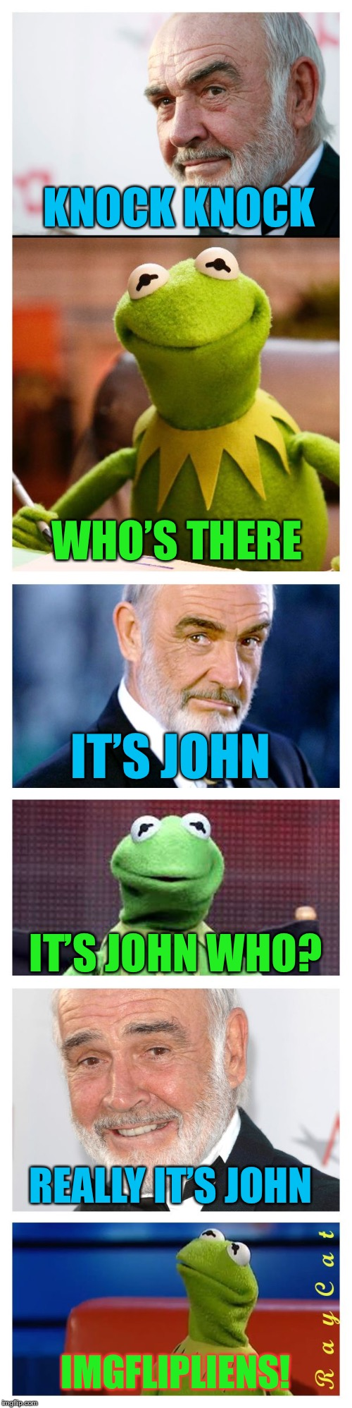 Sean and Kermit | KNOCK KNOCK WHO'S THERE IT'S JOHN IT'S JOHN WHO? REALLY IT'S JOHN IMGFLIPLIENS! | image tagged in sean and kermit | made w/ Imgflip meme maker