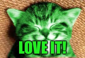 happy RayCat | LOVE IT! | image tagged in happy raycat | made w/ Imgflip meme maker