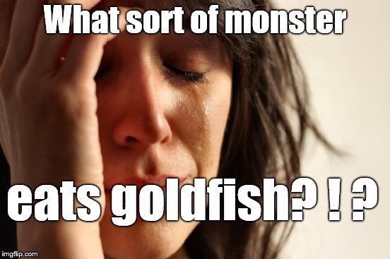 First World Problems Meme | What sort of monster eats goldfish? ! ? | image tagged in memes,first world problems | made w/ Imgflip meme maker