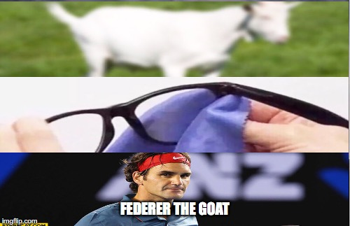At first you think you see a goat but it's  really the Greatest Of All Time | FEDERER THE GOAT | image tagged in tennis,legend,goat memes | made w/ Imgflip meme maker