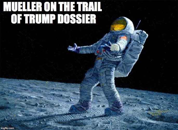 Mueller's Odyssey | MUELLER ON THE TRAIL OF TRUMP DOSSIER | image tagged in astronaut,president trump,robert mueller,witch hunt,constitution | made w/ Imgflip meme maker