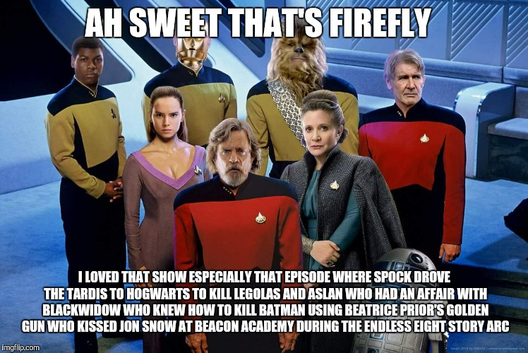 AH SWEET THAT'S FIREFLY I LOVED THAT SHOW ESPECIALLY THAT EPISODE WHERE SPOCK DROVE THE TARDIS TO HOGWARTS TO KILL LEGOLAS AND ASLAN WHO HAD | image tagged in mashup | made w/ Imgflip meme maker