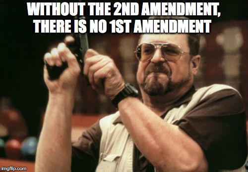 Am I The Only One Around Here Meme | WITHOUT THE 2ND AMENDMENT, THERE IS NO 1ST AMENDMENT | image tagged in memes,am i the only one around here | made w/ Imgflip meme maker