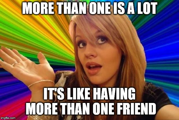 MORE THAN ONE IS A LOT IT'S LIKE HAVING MORE THAN ONE FRIEND | made w/ Imgflip meme maker