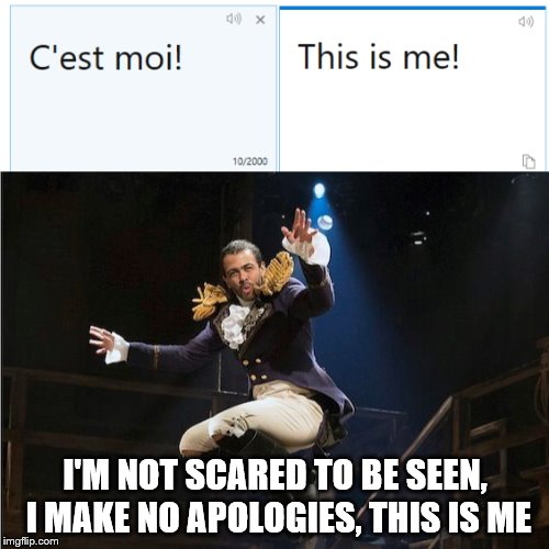 When Aaron Burr, Sir made no sense | I'M NOT SCARED TO BE SEEN, I MAKE NO APOLOGIES, THIS IS ME | image tagged in memes,lafayette,music | made w/ Imgflip meme maker
