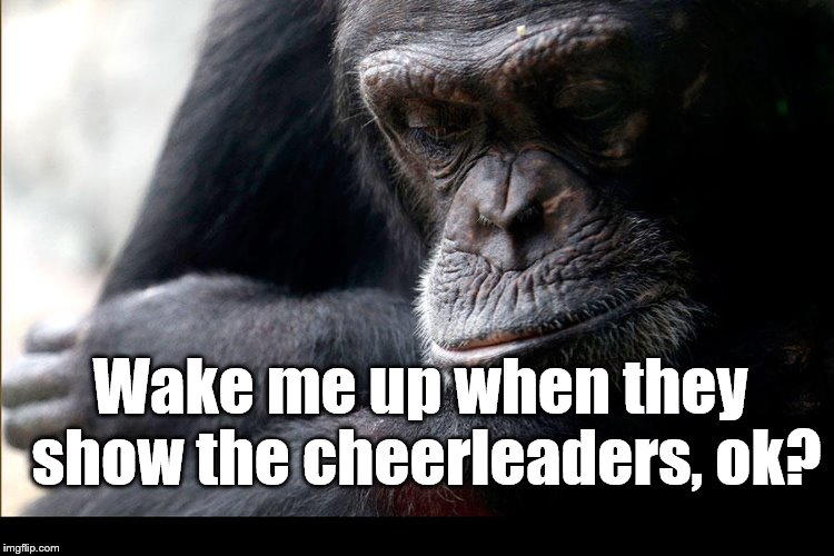 Koko | Wake me up when they show the cheerleaders, ok? | image tagged in koko | made w/ Imgflip meme maker