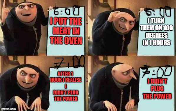 i made this meme while waiting ... | I PUT THE MEAT IN THE OVEN I TURN THEM ON 100 DEGREES IN 1 HOURS AFTER 1 HOUR I REALISE I DIDN'T PLUG THE POWER I DIDN'T PLUG THE POWER | image tagged in gru's plan,cooking,oven | made w/ Imgflip meme maker