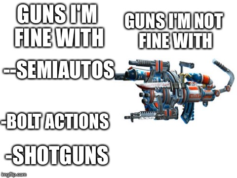 blank white template | GUNS I'M FINE WITH GUNS I'M NOT FINE WITH --SEMIAUTOS -SHOTGUNS -BOLT ACTIONS | image tagged in blank white template | made w/ Imgflip meme maker