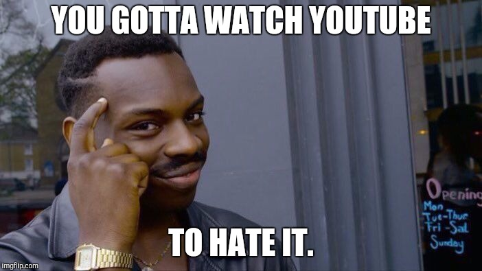 Roll Safe Think About It Meme | YOU GOTTA WATCH YOUTUBE TO HATE IT. | image tagged in memes,roll safe think about it | made w/ Imgflip meme maker