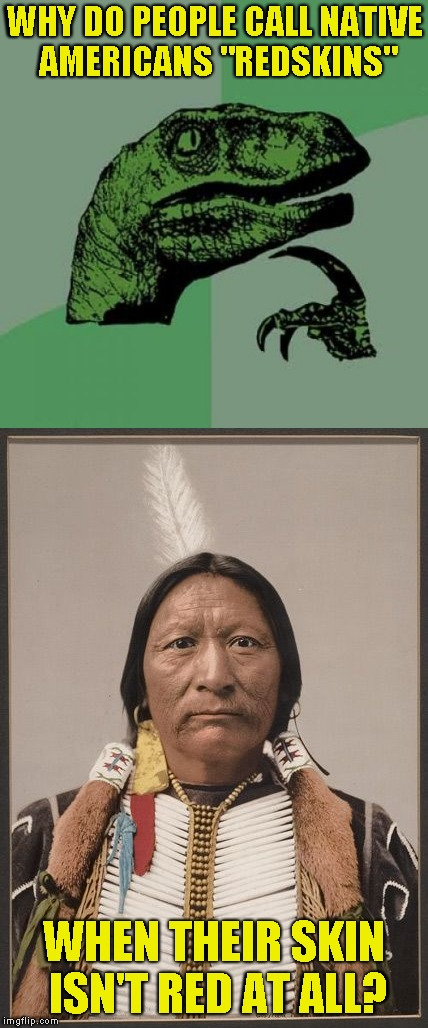 "If it's supposed to be a racial slur,I really don't see the meaning or reason behind it |  WHY DO PEOPLE CALL NATIVE AMERICANS ""REDSKINS""; WHEN THEIR SKIN ISN'T RED AT ALL? 