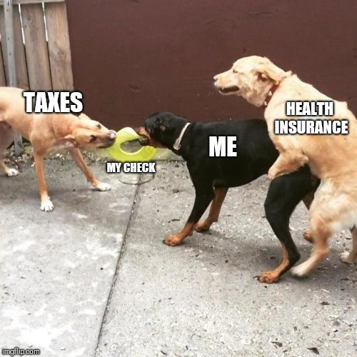 This Is My Life | TAXES MY CHECK ME HEALTH INSURANCE | image tagged in this is my life | made w/ Imgflip meme maker