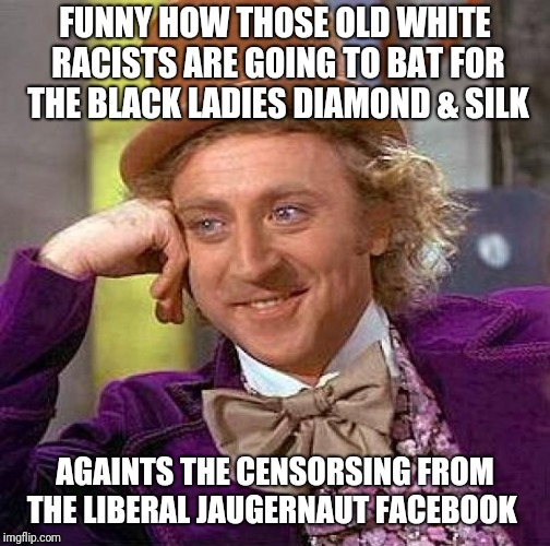 Creepy Condescending Wonka Meme | FUNNY HOW THOSE OLD WHITE RACISTS ARE GOING TO BAT FOR THE BLACK LADIES DIAMOND & SILK AGAINTS THE CENSORSING FROM THE LIBERAL JAUGERNAUT FA | image tagged in memes,creepy condescending wonka | made w/ Imgflip meme maker
