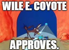Wile E Coyote tunnels | WILE E. COYOTE APPROVES. | image tagged in wile e coyote tunnels | made w/ Imgflip meme maker