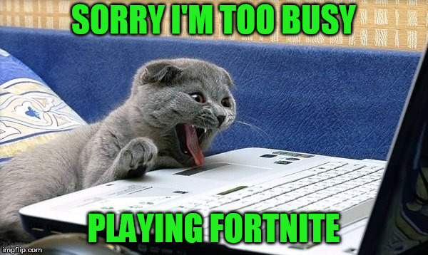 SORRY I'M TOO BUSY PLAYING FORTNITE | made w/ Imgflip meme maker