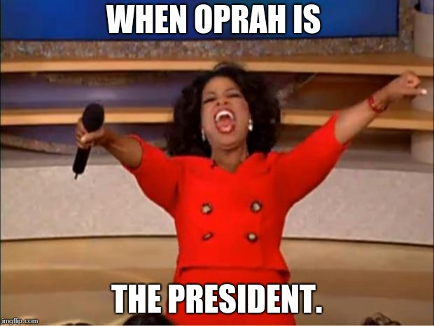 Oprah You Get A Meme | WHEN OPRAH IS THE PRESIDENT. | image tagged in memes,oprah you get a | made w/ Imgflip meme maker