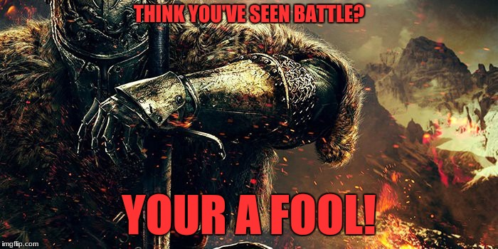 Dark Souls players understand this! | THINK YOU'VE SEEN BATTLE? YOUR A FOOL! | image tagged in war,dark souls | made w/ Imgflip meme maker
