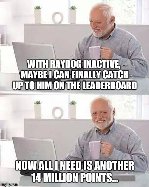 It's not the same without Raydog around :(  | WITH RAYDOG INACTIVE, MAYBE I CAN FINALLY CATCH UP TO HIM ON THE LEADERBOARD NOW ALL I NEED IS ANOTHER 14 MILLION POINTS... | image tagged in memes,hide the pain harold,jbmemegeek,leaderboard,raydog | made w/ Imgflip meme maker