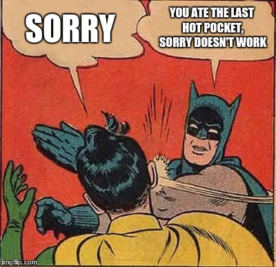 Batman Slapping Robin Meme | SORRY YOU ATE THE LAST HOT POCKET, SORRY DOESN'T WORK | image tagged in memes,batman slapping robin | made w/ Imgflip meme maker