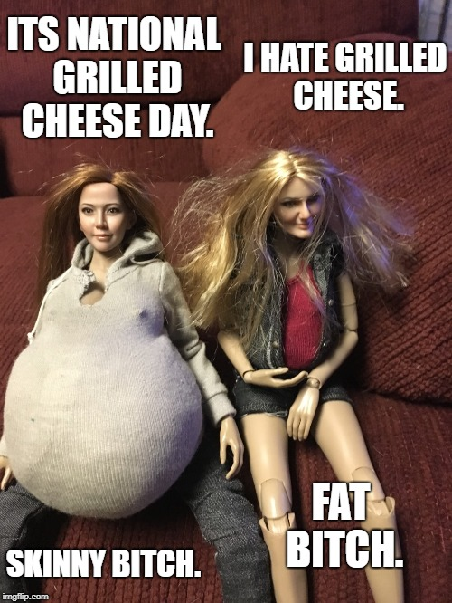 Olivia Michelle, Chelsea Renee | ITS NATIONAL GRILLED CHEESE DAY. I HATE GRILLED CHEESE. SKINNY B**CH. FAT B**CH. | image tagged in olivia michelle,chelsea renee | made w/ Imgflip meme maker