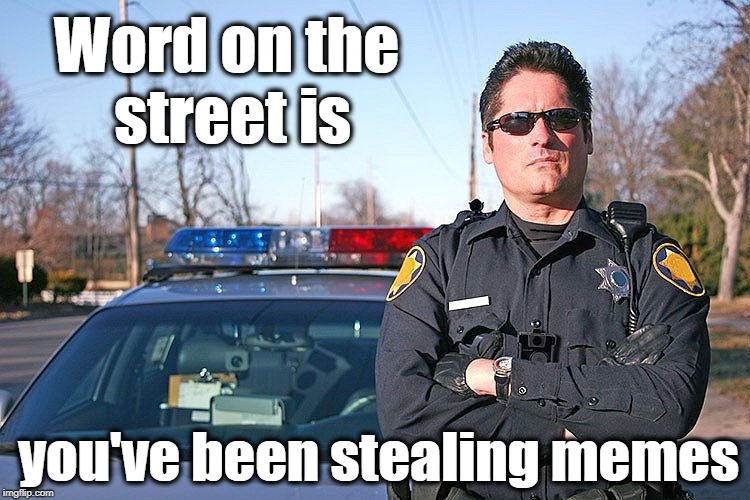 Please tell me it's just hearsay! | Word on the street is you've been stealing memes | image tagged in police | made w/ Imgflip meme maker