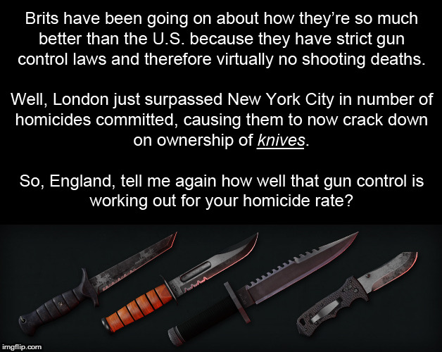 How much longer before they ban all knives, and food companies have to pre-cut our food for us like 2 year olds? | image tagged in memes,gun control,knife control,england | made w/ Imgflip meme maker