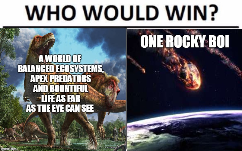 Logic | A WORLD OF BALANCED ECOSYSTEMS, APEX PREDATORS AND BOUNTIFUL LIFE AS FAR AS THE EYE CAN SEE ONE ROCKY BOI | image tagged in who would win,funny memes,nsfw | made w/ Imgflip meme maker