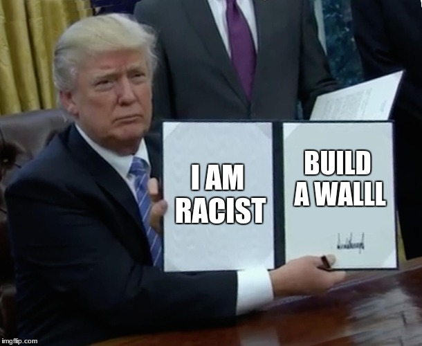 Trump Bill Signing Meme | I AM RACIST BUILD A WALLL | image tagged in memes,trump bill signing | made w/ Imgflip meme maker