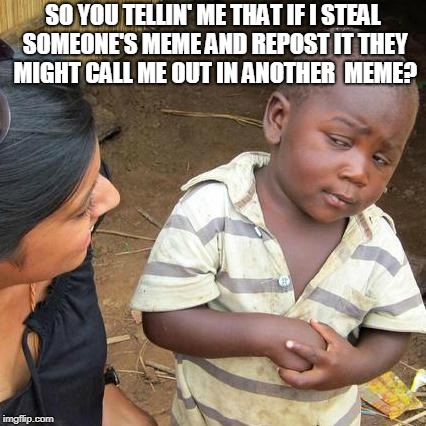 Third World Skeptical Kid Meme | SO YOU TELLIN' ME THAT IF I STEAL SOMEONE'S MEME AND REPOST IT THEY MIGHT CALL ME OUT IN ANOTHER  MEME? | image tagged in memes,third world skeptical kid | made w/ Imgflip meme maker