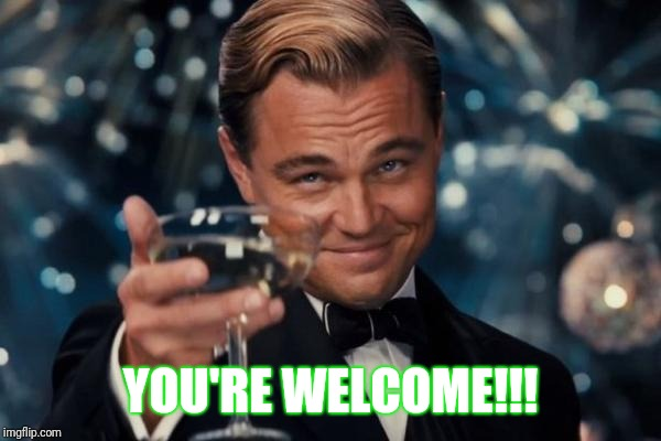 Leonardo Dicaprio Cheers Meme | YOU'RE WELCOME!!! | image tagged in memes,leonardo dicaprio cheers | made w/ Imgflip meme maker