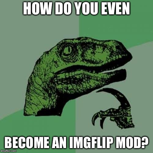 Philosoraptor Meme | HOW DO YOU EVEN BECOME AN IMGFLIP MOD? | image tagged in memes,philosoraptor | made w/ Imgflip meme maker