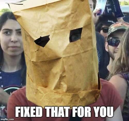 Paper Bag Feminist | FIXED THAT FOR YOU | image tagged in paper bag feminist | made w/ Imgflip meme maker